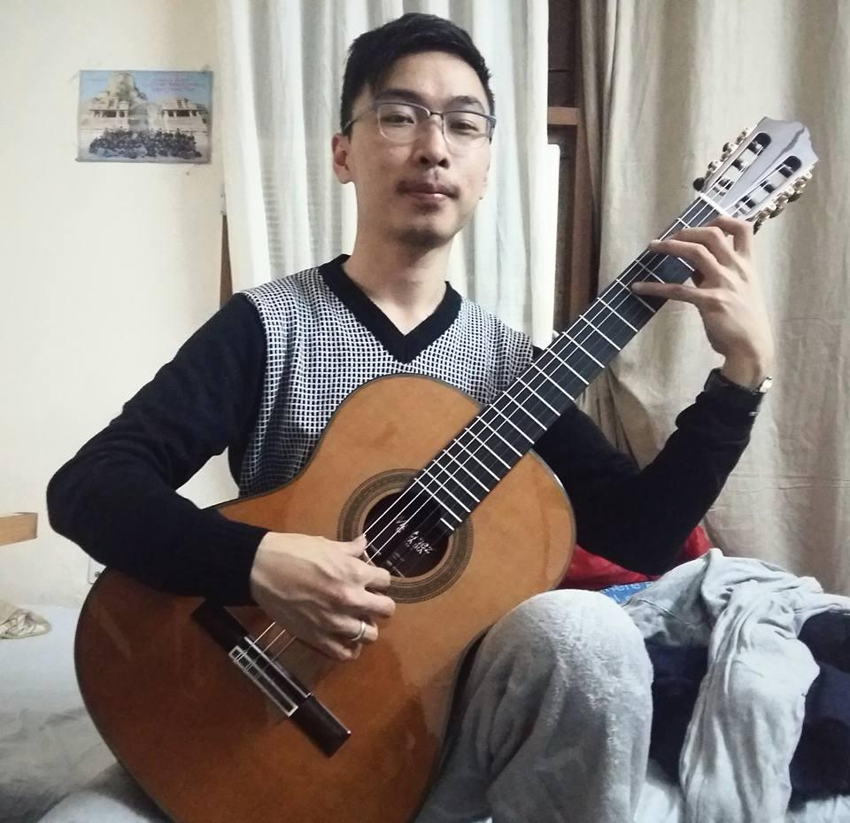Ungrumso Raman with his Martinez guitar, a prize from the Delhi International Classical Guitar Competition