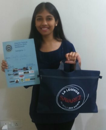 Nandini with her 1st prize