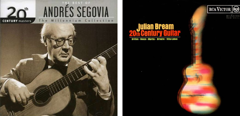 Record covers for Andres Segovia and Julian Bream performing 20th Century repertoire for the classical guitar